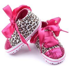 Bling Baby Girl Sequin Soft Sole Shoes Brand new and dazzling baby girl first walker sequin shoes. Shoes are hot pink with Leopard print and sequins, then completed with precious bow. Available in sizes 2 and 3 Shoes Baby & Walker Non Slip Sneakers, Baby Sneakers, Girls Sneakers, Sequin Shoes, Sparkly Shoes, Pink Sequin, Toddler Girl Shoes, Boys Shoes, Toddler Girls