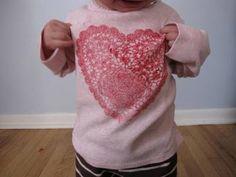 stencil heart on tshirt