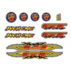 Replacement GT Mach One decal sticker set for your mid school 1995 GT Mach One BMX bike. Full set set includes frame, fork and handlebar decals. Bmx Gt, Capital Of Usa, Mach One, Gt Bikes, Bmx Cycles, Bike Stickers, First Down, Buick Logo, Adhesive Vinyl