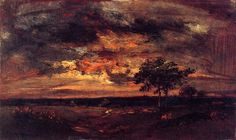 Theodore Rousseau (French, Barbizon School, 1812–1867): Twilight Landscape, 1850