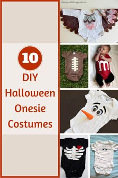 Your newborn baby will be comfortable and super cute in these darling DIY Halloween Onesie Costumes for those fun Halloween get-togethers. || Design Dazzle