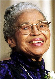 "Rosa Louise McCauley Parks (February 4, 1913 – October 24, 2005) was an African-American civil rights activist, whom the U.S. Congress called ""the first lady of civil rights"", and ""the mother of the freedom movement"".[1]  On December 1, 1955 in Montgomery, Alabama, Parks, age 42, refused to obey bus driver James Blake's order that she give up her seat to make room for a white passenger."