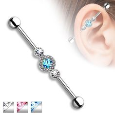 Spikes Tri-crystal industrial barbell piercing surrounded with smaller gems - Aqua Industrial Piercing Jewelry, Body Jewelry Piercing, Industrial Barbell, Industrial Bars, Piercing Labret, Labret Studs, Tiny Stud Earrings, Crystal Earrings, Bar Earrings