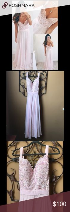 Beautiful Baby Pink Prom Dress/Evening Gown This darling pink dress is perfect for a prom dress. Measurements: Bust 35 in, Waist 30.5 in, Hips 39 in, and Height 5 ft 5 in adding 4 inches for heels. Dresses Prom