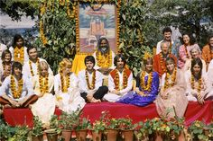 The Beatles (and their families) with Maharishi Mahesh Yogi in Rishikesh, India during their Transcendental Meditation Training in February 1968