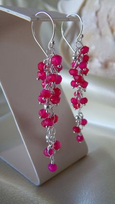 Hot pink chalcedony - Waterfall Chandelier Earrings in Argentium Silver and complimentary shipping! on Etsy, $68.00