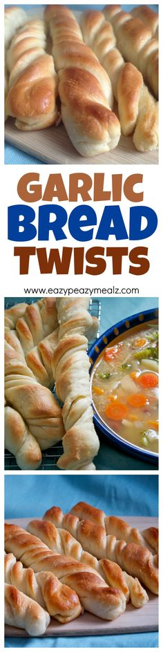 These garlic bread twists are the perfect addition to pasta, soup, or just on its own! And they are SUPER EASY to make. - Eazy Peazy Mealz
