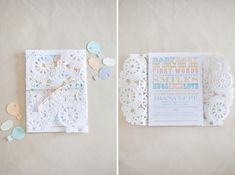 Doily enclosed baby shower invitation