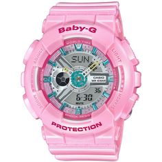 Baby-g Women's Analog-Digital Pink Strap Watch 46x43mm BA110CA-4A ($120) ❤ liked on Polyvore featuring jewelry, watches, pink, g shock watches, g shock wrist watch, analog digital watches, pink jewelry and pink watches