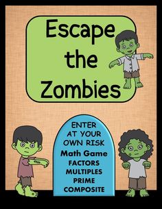 Factors, Multiples, Prime and Composite Numbers - Zombie Game - Amped Up Learning Math Test Games, Math Board Games, Prime And Composite Numbers, Prime Numbers, Math Vocabulary Words, Factors And Multiples, Math Practices, Math Stations, Student Learning