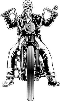 Vector illustration of a skeleton biker - vektor illus - Motorrad Harley Davidson Chopper, Harley Davidson Sportster, Moto Chopper, Harley Davidson Kunst, Harley Davidson Tattoos, Harley Davidson Wallpaper, Chopper Motorcycle, Motorcycle Art, Bike Art