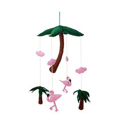 The twirling pink flamingos and swaying palm trees of this handcrafted mobile make naptime a breeze for newborns. Flamingo Toy, Pink Flamingos, Best Baby Shower Gifts, Unique Baby Shower, Best Crib Mobile, Felt Mobile, Playroom Decor, Nursery Decor, Baby Necessities