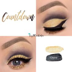 Countdown Eye Duo uses three SeneGence ShadowSense: Warm Gold Shimmer Shadowsense & Onyx Shadowsense  .  These cream to powder eyeshadows will last ALL DAY on your eye.  #shadowsense #eyeshadow