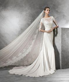Half Sleeve O Neck Court Train Chiffon A Line Wedding Dress Apr0215