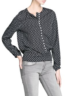 Tie print blouse
