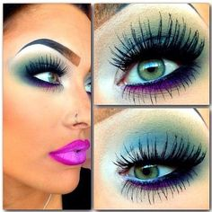 eye colors, minus the way over-extended eyebrow and attempt to make the lips look even bigger with the liner