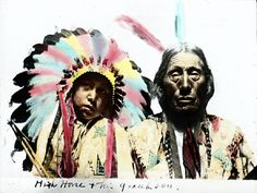Native American Oil Paintings | Native American man called 'High Horse' and his grandson. This ...
