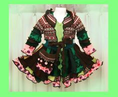Elf sWEATER, cOAT, children sweater, knitting, todler hoodie, patchwork coat, girl dress, handmade. $85.00, via Etsy.