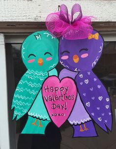 Love birds wooden door hanger for Valentine's Day