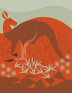 """Wild Things of Oz - Uluru"" contemporary wall art by Eleanor Grosch for GreenBox… Kangaroo Art, Geometric Animals, Contemporary Wall Art, Illustration, Painting, Painting Prints, Organic Art, Art, Animal Illustration"