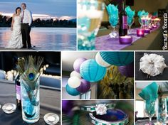 peacock feathers (real wedding) with a vibrant turquoise and purple color scheme  http://burnettsboards.com/2012/11/peacock-feather-wedding/