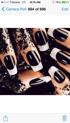 Black and silver nails,nail art,beauty #provestra