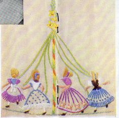 """Come to the fair"", a beautiful embroidery design from ""Needlewoman & Needlecraft"",July 20th 1948 issue No.35."