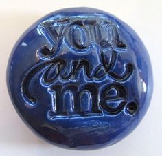 YOU and ME Pocket Stone  Ceramic   Royal Blue Art by InnerArtPeace, $6.00