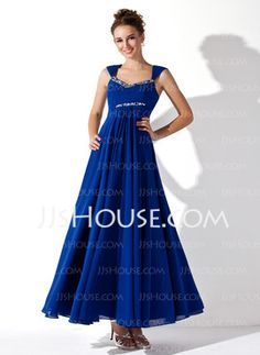 A-Line/Princess V-neck Ankle-Length Chiffon Prom Dress With Ruffle Beading (018020927) - JJsHouse