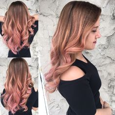 Rose gold, Ombre, Balayage, hair painting, blonde, pink, color
