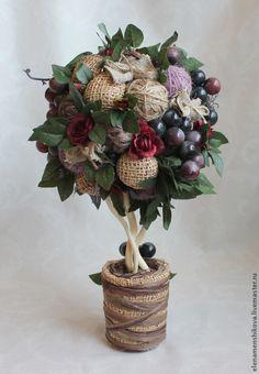 """Купить Топиарий """"Вечерние грёзы"""" - темно-фиолетовый, виноград, топиарий, Дерево счастья, топиарий с виноградом"""
