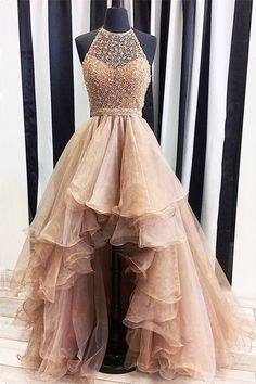 Champagne tulle beads high low prom dress c1b2a85246b7