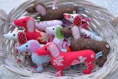 basket of lavender dachshunds  http://www.etsy.com/shop/farrellandholmes