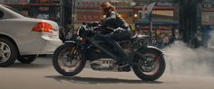 Harley-Davidson LiveWire motorcycle driven by Scarlett Johansson in AVENGERS: AGE OF ULTRON (2015) @audiint