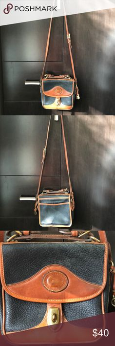 Vintage Dooney and Bourne Black and Brown Purse Vintage item, leather, gently used, inside and outside is in great condition Dooney & Bourke Bags Shoulder Bags