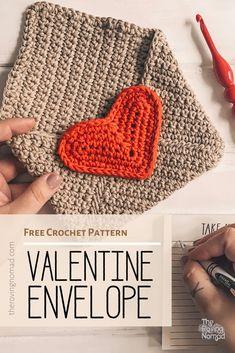 Valentine Envelope Crochet Pattern - The Roving Nomad Source by therovingnomad Crochet Gratis, Free Crochet, Knit Crochet, Crochet Things, Envelope Pattern, Summer Knitting, Beginner Knitting, Quick Crochet, Holiday Crochet