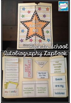 'All About Me' Audiobiography Lapbook for Back to School!  Fun projects for the kids, and they make a great BTS Bulletin Board display in the hallway or your classroom!