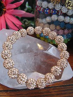 "New 8"" Champagne Rose-Gold Shimmer Cuff Shamballa Crystal Ball Rustic Bracelet"