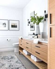 Any plans for the long weekend friends? Other than stopping by our Showroom sale of course, ha! The sun is… Bathroom Renos, Bathroom Interior, Upstairs Bathrooms, Master Bathroom, Vintage Modern, Master Bath Remodel, Minimalist Home Interior, Interior Modern, Up House