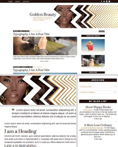 Chic & Sassy Designs: Golden Beauty: a beauty & fashion blog design