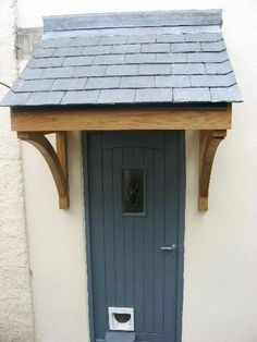 Wooden Door Canopy - OAK Slatted Porch Canopy and Curved Brackets Timber Front Door, Front Door Porch, Front Porch Design, Porch Roof, Front Door Overhang, Front Porch Without Roof, Cottage Front Doors, Awning Canopy, Canopy Curtains