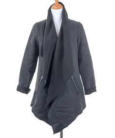 Another great find on #zulily! Ju's Black & Gray Shawl Collar Coat by Ju's #zulilyfinds