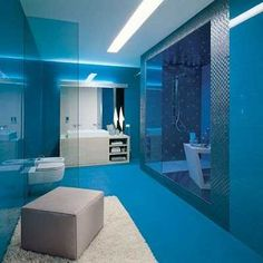 Bathroom In Blue Color