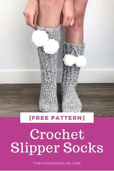 Looking for an easy crochet project? Come make these cozy croeht slipper socks on The Hook Nook Life Blog using the Free Crochet Pattern!  #crochetslippers #crochetsocks #crochetslippersfreepattern #crochetprojects