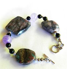 Amethyst, Faceted Pietersite and Onyx Gemstone Designer Bracelet | craftsofthepast - Jewelry on ArtFire