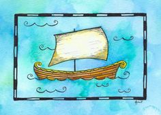 Ship No. 4  Norse Ship 5 x 7 Original Watercolor / by paintandink, $100.00