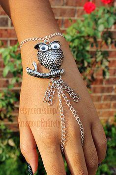 Silver Owl Slave Bracelet by EnamourEntirety on Etsy, $11.00
