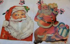 what darling jolly santa  vintage paper ephemera these are used and show lots of wear and use ( see all photos ) these are so adorable for