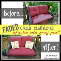 Before/After Faded chair cushions refreshed with spray paint