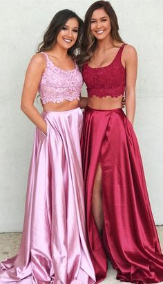 two piece pink long prom dresses for teens, chic a line party dresses with high splits,simple garduation dresses for girls Split Prom Dresses, Prom Dresses Long Pink, Prom Dresses With Pockets, Prom Dresses Two Piece, Prom Dresses For Teens, Elegant Prom Dresses, Sweet 16 Dresses, Sweet Dress, Prom Party Dresses